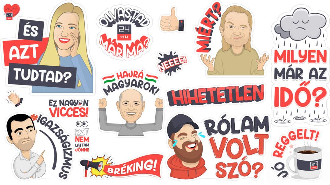 Megjelent a 24.hu viber matricacsomagja a szerkesztőség ikonikus arcaival és szófordulataival